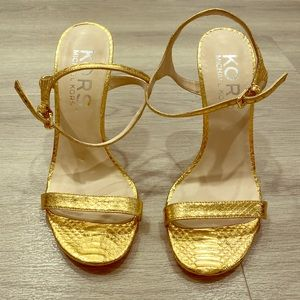 Michael Kors Gold Metallic Snakeskin Heel